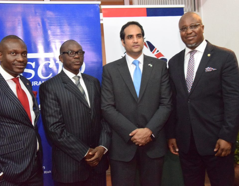 L-R Mr Gboyega of Scib Insurance Broker, The host President Funmi Onabolu, With the ‎Acting Deputy High Commissioner & Director, UK Trade & Investment, Nigeria Bashir alongside Mr. Shola Tinubu MD Scib Insurance Brokers Nigeria Ltd. at the 2016 President's cocktail.