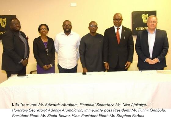 L-R: Treasurer: Mr. Edwards Abraham, Financial Secretary: Ms. Nike Ajakaiye, Honorary Secretary: Adeniyi Aromolaran, immediate pass President: Mr. Funmi Onabolu, President Elect: Mr. Shola Tinubu, Vice-President Elect: Mr. Stephen Forbes